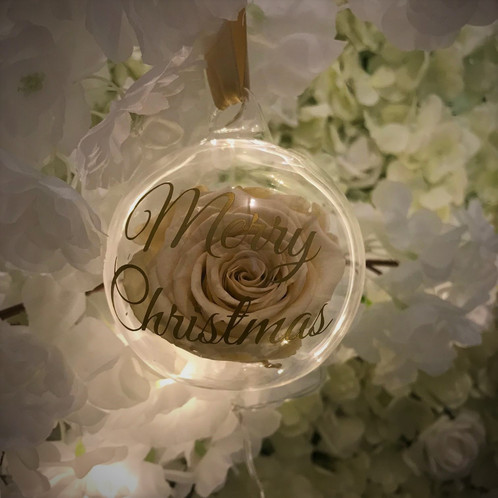 Roses That Last A Year In Personalised Gl Christmas Bauble Infinity Uk