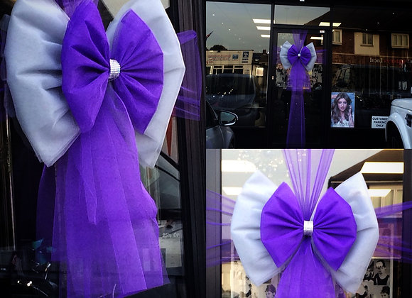 Silver and Purple Christmas Door Bow London Essex Kent UK