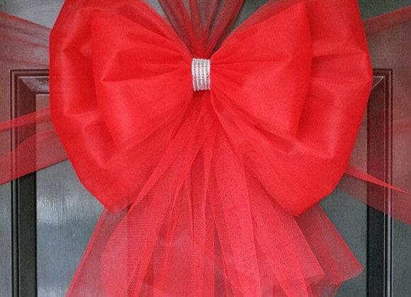 Christmas Door Bow, Red & Diamante, door bows to Dress your door in style this festive season - UK, Essex, Kent London