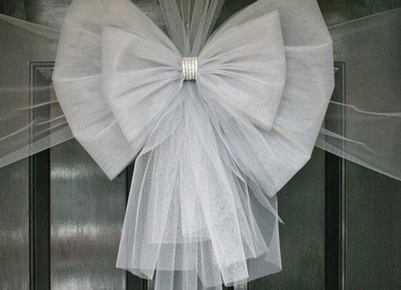 Christmas Door Bow, Silver and Silver Diamante, Dress your door in style this festive season - UK, Essex, Kent London