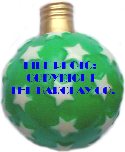 "#BC-010b - Old Time ""Milk Glass"" Christmas Light - Star Ball, Green"