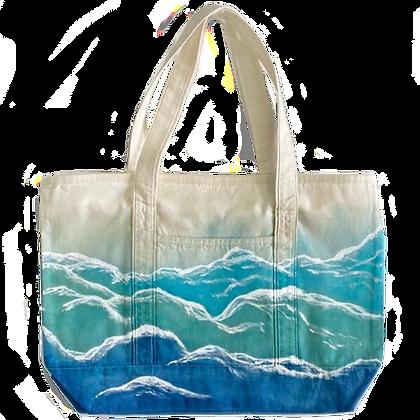 Hand-Painted Ocean Wave Bag