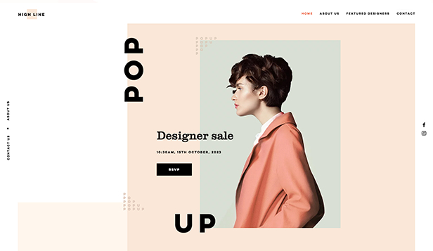 Mode en schoonheid website templates – Pop-up store voor ontwerpers