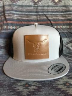 Grey Hat, Black Mesh, Leather Patch West River Bull