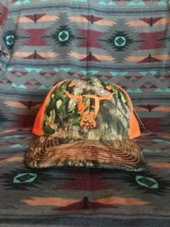 Real Tree Green Camo Hat, Orange West River Bull