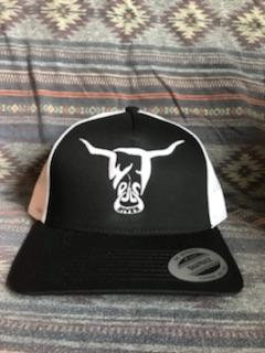 Black and White Hat, White West River Bull - LOW PROFILE