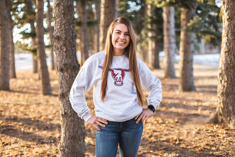Crew Neck Champion Sweatshirts - White Heather - Two Colors on West River Bull