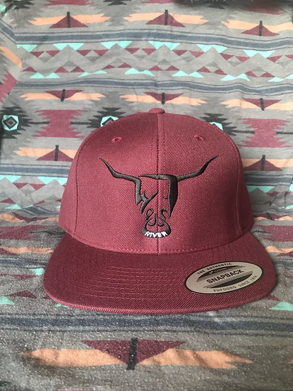 Maroon Hat, Beige West River Bull (full back)