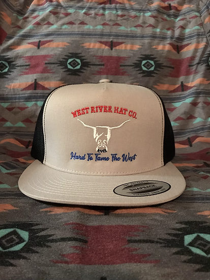 Grey Snapback Trucker Hat, Black Mesh. Red, White, and Blue Hard to Tame Logo