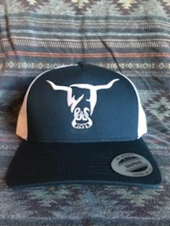 Navy Blue and White Hat, White West River Bull - LOW PROFILE