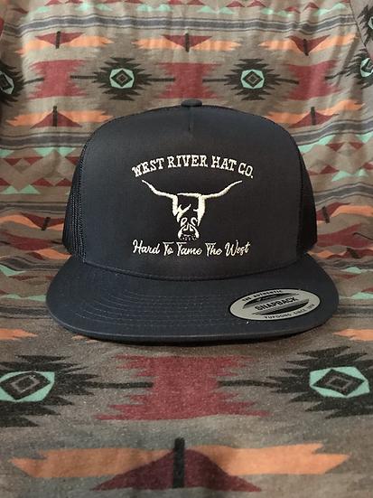Navy Blue Snapback Trucker Hat, White Hard to Tame Logo