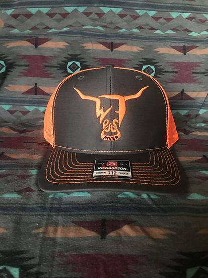 Grey Low Profile Snapback Hat, Orange Mesh, Orange West River Bull