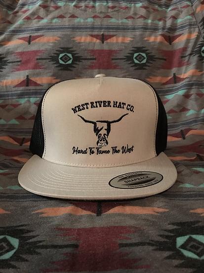 Grey Snapback Trucker Hat, Black Mesh. Black Hard to Tame Logo