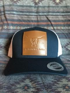 Navy Blue and White Hat, Leather Patch West River Bull - LOW PROFILE