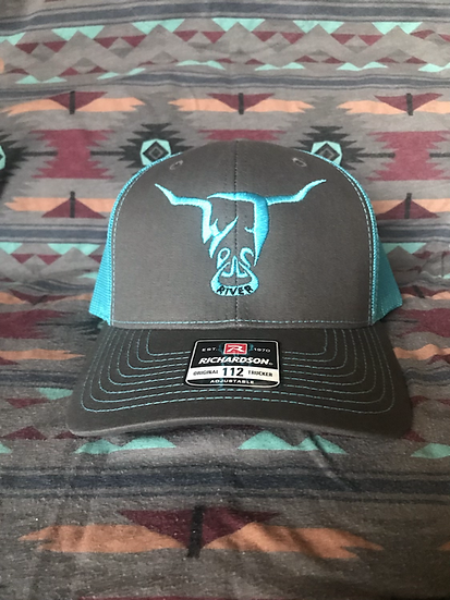 Grey Low Profile Snapback Hat, Turquoise Mesh Turquoise West River Bull