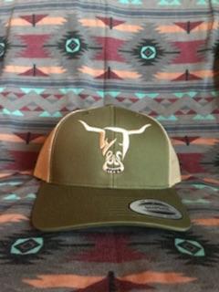 Olive Hat, Beige West River Bull - LOW PROFILE