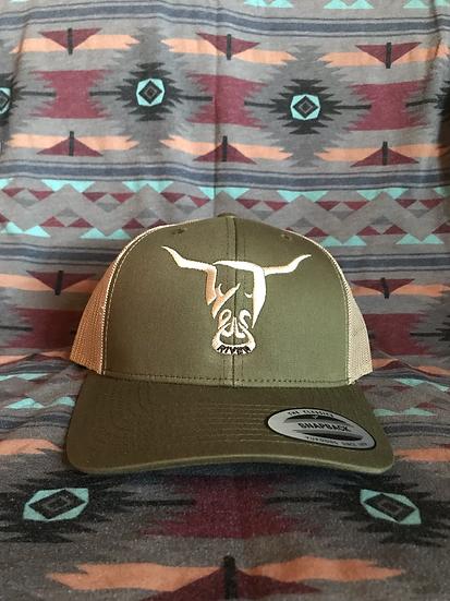 Low Profile Olive Hat, Beige West River Bull