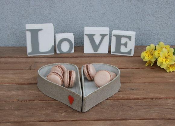 זוג קעריות לב - שמנת