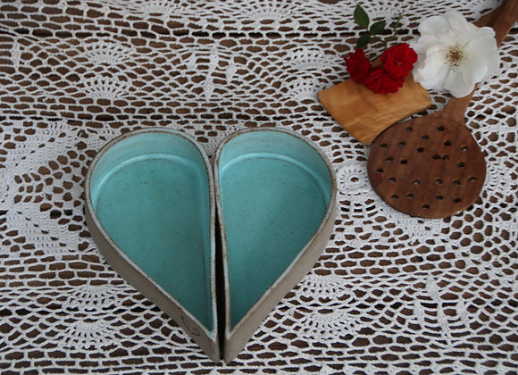 זוג קעריות לב - טורקיז