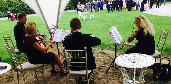 Quartet best music Springfort Hall county Cork garden drinks party wedding reception Irish wedding SuirStrings gazebo elegance