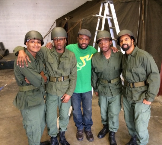 "Antonio McClendon (Dubs), Tyrik Ballard (Hal), Steve Wallace (Creator/Composer), Larob Payton (Stokes), and Darien Dean (Hotspur) on the set for the song ""Memphis Shack"" from ""The Korean War."""