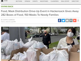 Food, Mask Distribution Drive-Up Event in Hackensack Gives Away 282 Boxes of Food, 150 Masks