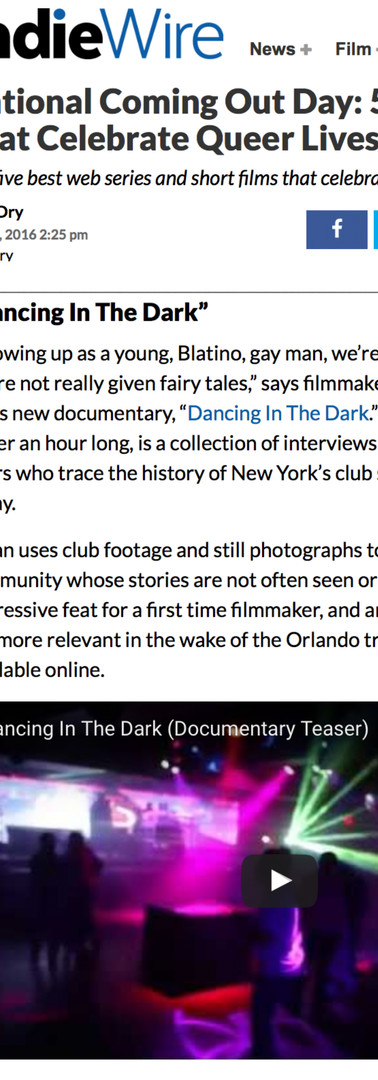 IndieWire. Dancing in the Dark. Oct 11 2016