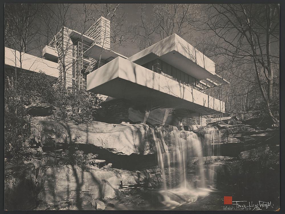 Black & white photo of Frank Lloyd Wright's Fallingwater