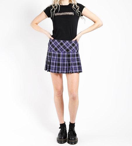 Tripp NYC - Pleated Plaid Skirt (Purple)