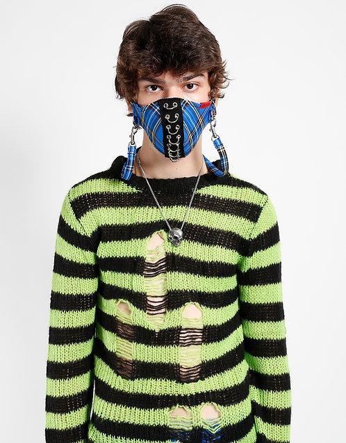 Tripp NYC- Blue Plaid Piercing Facemask