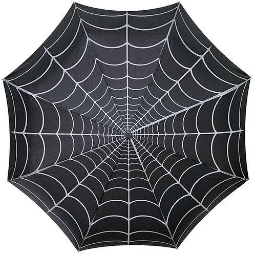 Kreepsville 666-Skull Handle Spiderweb Umbrella
