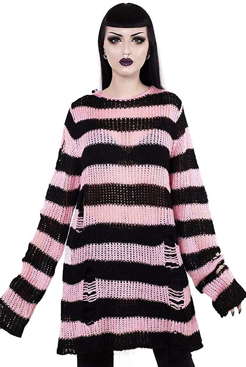 Killstar-Courtney Distress Knit Sweater