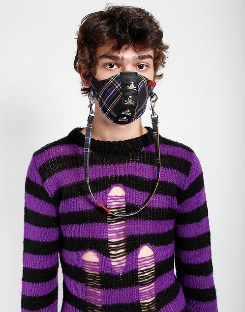 Tripp NYC- Purple Plaid Skulls Facemask
