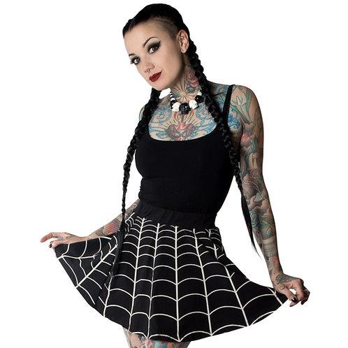 Kreepsville 666-Spiderweb Skater Skirt