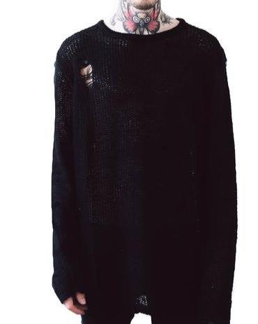 Killstar - Black Distressed Knit Sweater