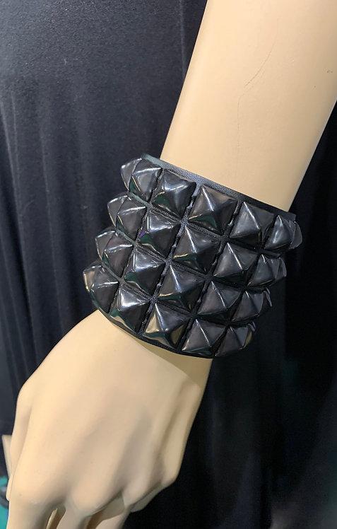 Borderline - Black Studded Leather Bracelet