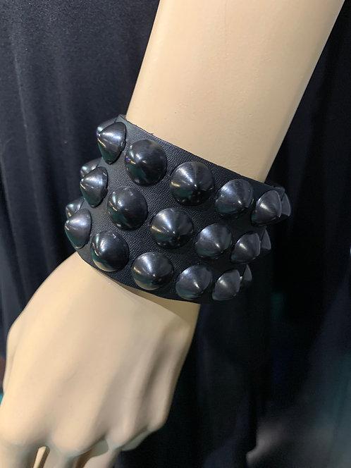 Borderline - Black Cone Studded Leather Bracelet