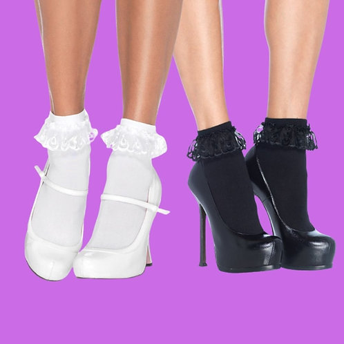 Leg Avenue - Anklet Socks With Lace Ruffle