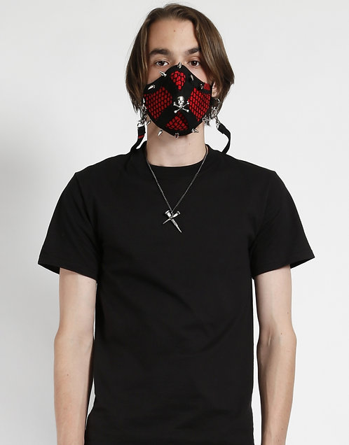 Tripp NYC- Red Mesh Spikes & Skull Facemask