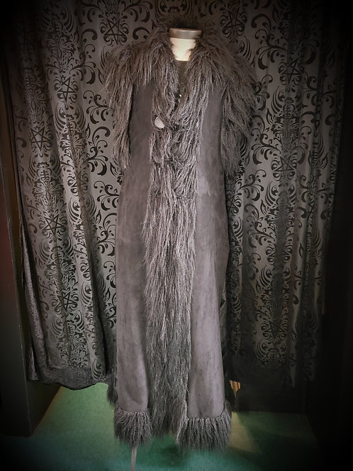 Widow-Faux Suede Long with Faux Fur and Toggles