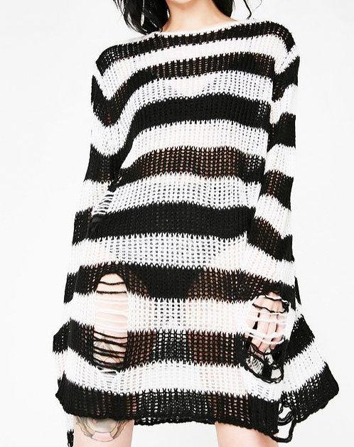 Killstar - Striped Distressed Knit Sweater