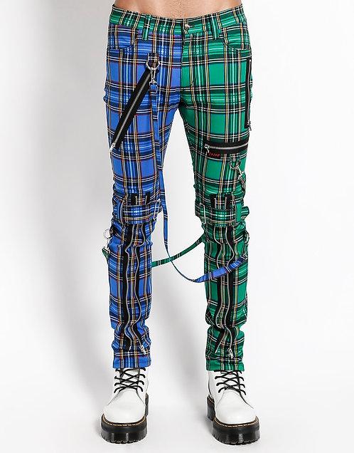 Tripp NYC - Green & Blue Split Plaid Pants