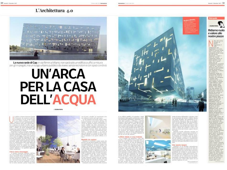 """CL&AA vincitore del concorso """"nuovo Headquarter del gruppo CAP"""" a Milano:il progetto s"""