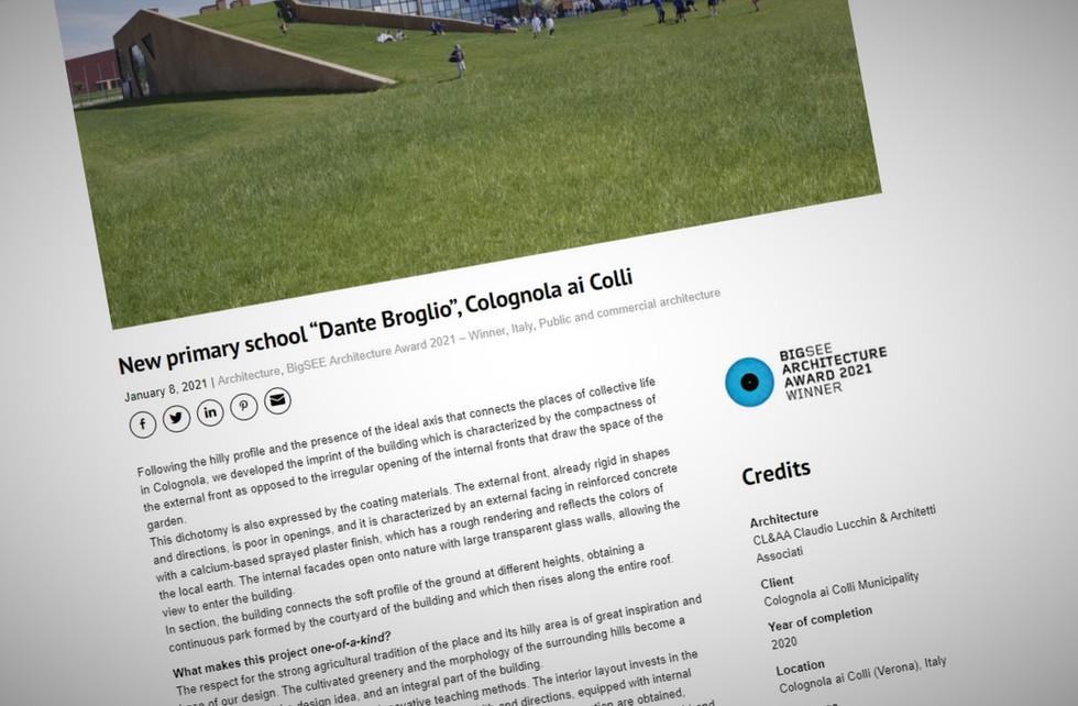 """New primary school """"Dante Broglio"""" wins the BIGSEE ARCHITECTURE AWARD 2021"""