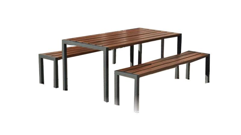 Table pique-nique et banquette VALENCE - En bois exotique