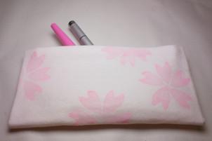 切らない縫わない!桜柄ポーチ作りました