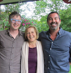 Kyle Jarrow, Kathy Evans, and Duncan Shiek at Rhinebeck Writers Retreat