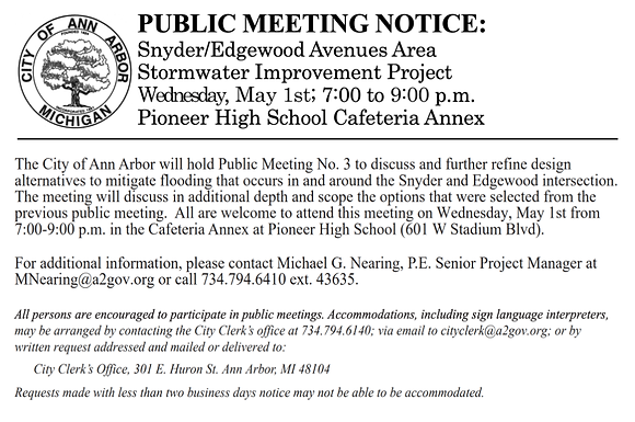 May 1st meeting about Snyder Edgewood Stormwater Improvement Project