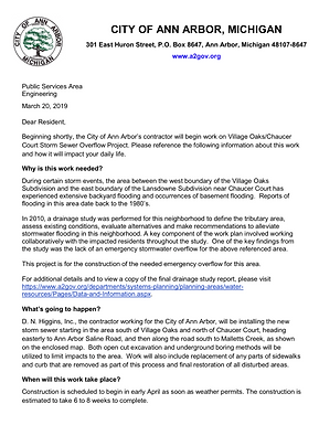 Village Oaks/Chaucer Court storm sewer overflow project starts early April