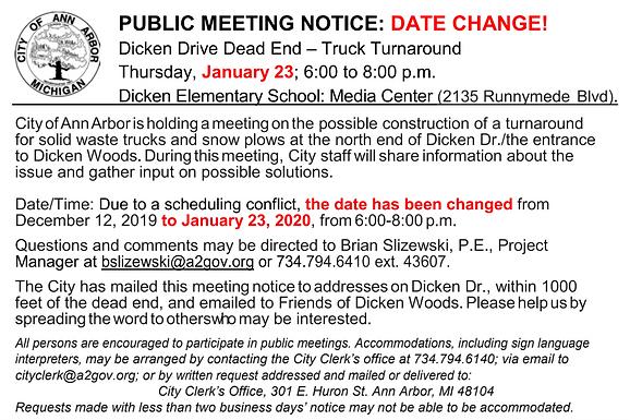 Dicken Drive Turnaround public meeting Jan 23rd